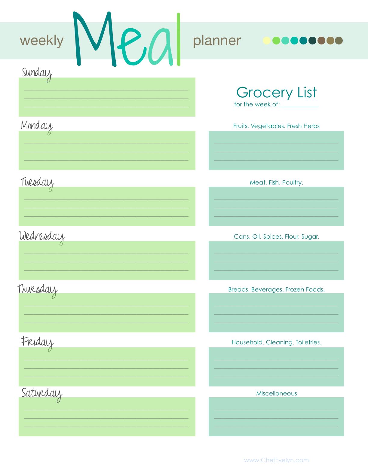 Free Weekly Meal/Menu Planner